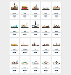 big colletion of travel screens for mobile app or vector image