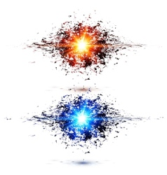 Blue and red techno style explosions vector