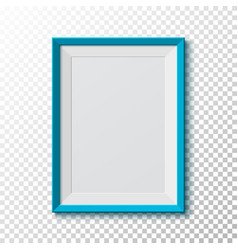 Blue blank picture frame on transparent vector