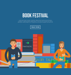 book festival poster with people reading books vector image