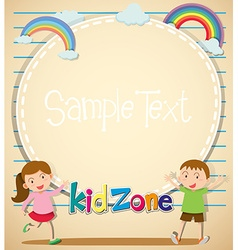 Border design with girl and boy vector