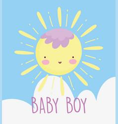 Boy or girl gender reveal funny sun cartoon cloud vector