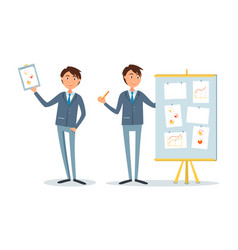 businessman at seminar presenter with plan board vector image