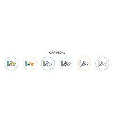 Car pedal icon in filled thin line outline and vector