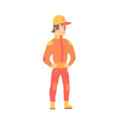 Car racing driver man in an orange uniform member vector