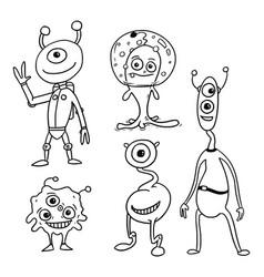 Cartoon set 05 friendly aliens astronauts vector