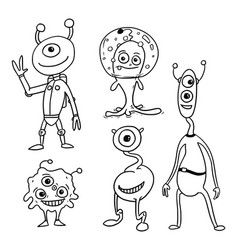 Cartoon set 05 of friendly aliens astronauts vector