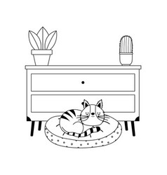 cat on cushion furniture and potted plants vector image