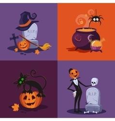 Cauldron Pumpkin Tomb and Cat Halloween vector