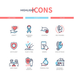 Charity concept - line design style icons set vector