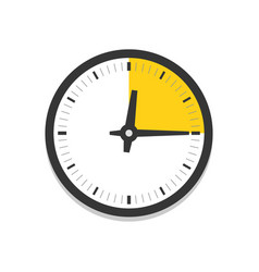 Clock with part hour flat icon vector