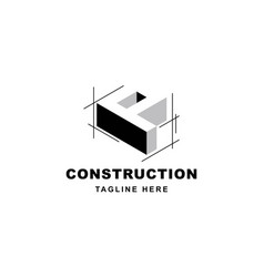 Construction logo design with letter p shape icon vector