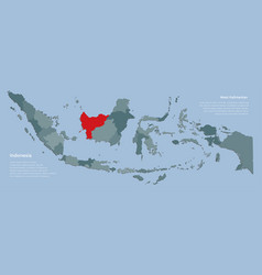 Country indonesia map and province west kalimantan vector