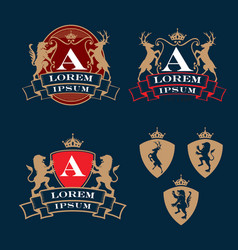 crest coat arms heraldry theme logo set vector image