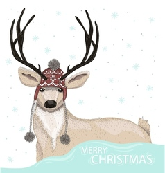 Cute deer with hat winter background vector image
