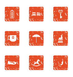 Debut icons set grunge style vector
