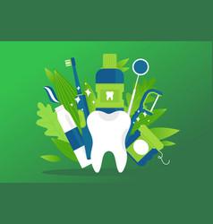 dental health element prevention treatment vector image