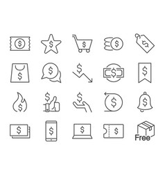 discount icon set vector image