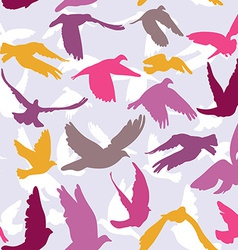 Doves and pigeons seamless pattern on lilak vector image
