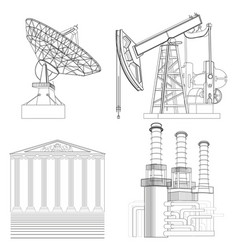 drawing industries telecommunications the oil vector image