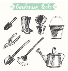 Drawn gardening tools sketch vector image