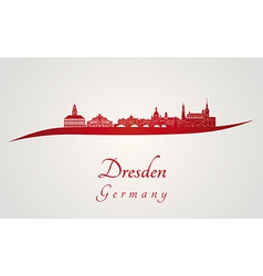 Dresden skyline in red vector image