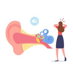 Ear pain tinnitus otitis or deaf concept tiny vector