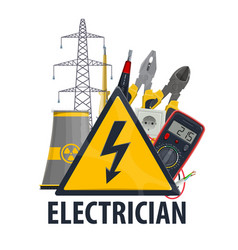 Electricity and electric engineering tools vector