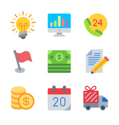 Finance and money colored trendy icon pack 1 vector