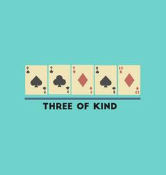 Flat icon on stylish background poker three of vector