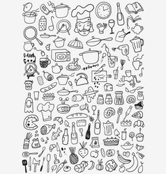 Food kitchen tools - doodles set vector