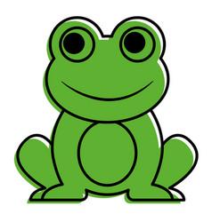 frog cute animal sitting cartoon vector image