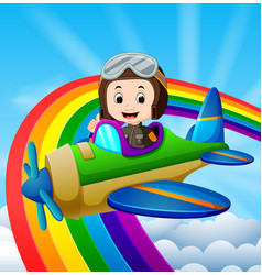 funny pilot riding plane over rainbow vector image