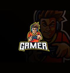 Gamer mascot sport logo design vector