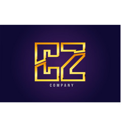 Gold golden alphabet letter cz c z logo vector
