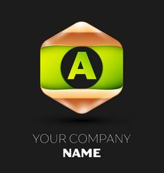 green letter a logo in golden-green hexagonal vector image
