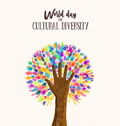 Hand tree concept for cultural diversity day vector
