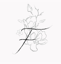 handwritten line drawing floral logo monogram f vector image