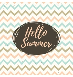 Hello summer lettering with ethnic pattern vector