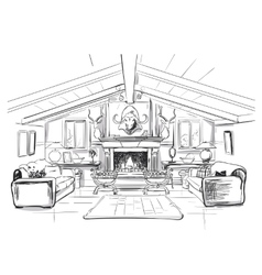 Home interior with sofa and fireplace vector