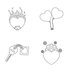 Hot heart balloons a key with a charm a cold vector