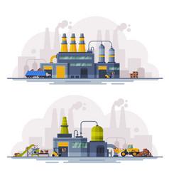 Industrial buildings set waste processing vector