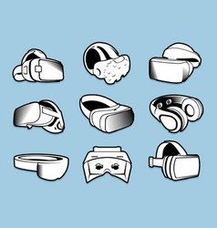 Isolated black and white color vr headset in flat vector