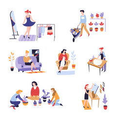 Leisure activity or pastime shopping and planting vector