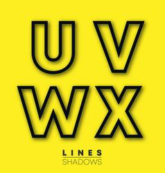 letters linear design set letter u v w x vector image
