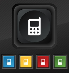 mobile phone icon symbol Set of five colorful vector image