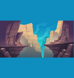 Mountain landscape with chasm in rocks vector
