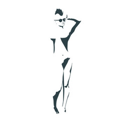 Naked young woman vector