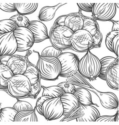 Onion bulbs leek seamless pattern outline hand vector