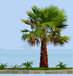 painted palm tree on green grass next to the sea vector image
